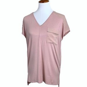 NWT Zara Zipper Pocket Rose Pink Tunic Tee